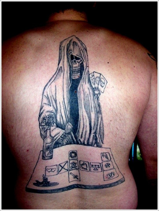 Amazing great death plays cards tattoo on back