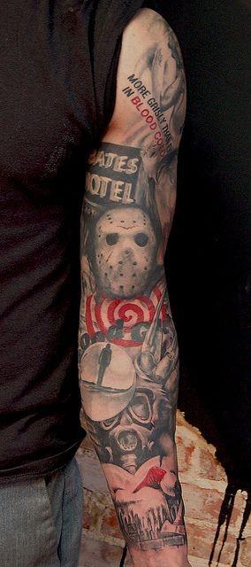 incredibile stile orrore tatuaggio a braccio pieno