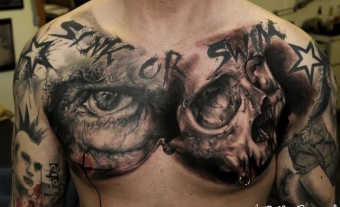 amazing idea of skull tattoo on chest for men. Black Bedroom Furniture Sets. Home Design Ideas