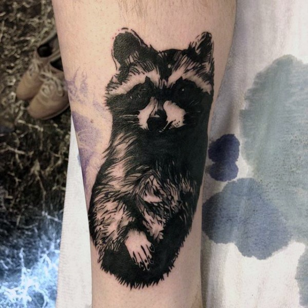 Amazing looking black and white tattoo of cute raccoon