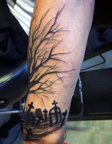 amazing looking black ink forearm tattoo of lonely tree with dark cemetery. Black Bedroom Furniture Sets. Home Design Ideas