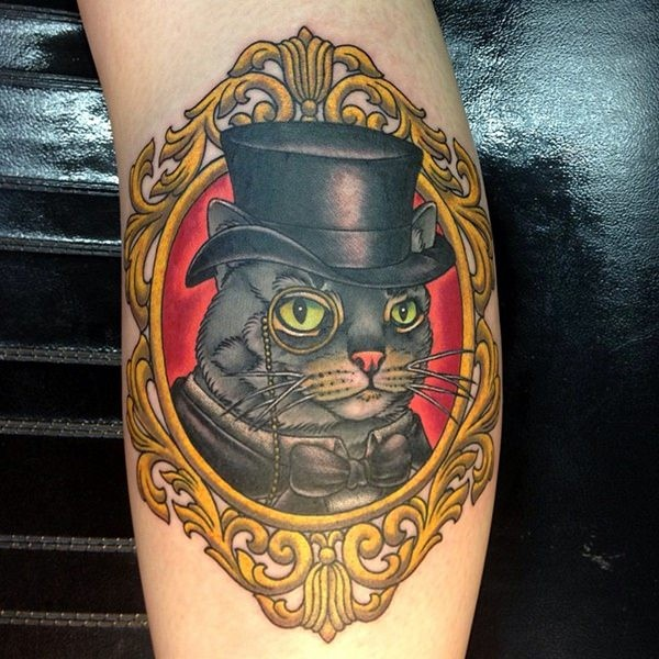 Amazing looking colored tattoo of cat portrait