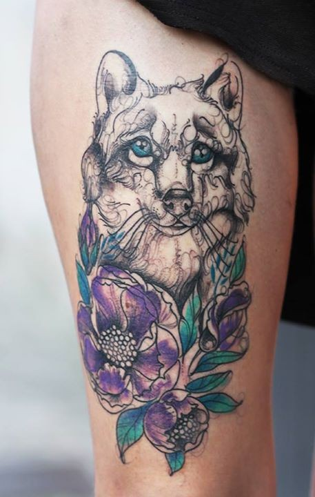 Amazing looking colored tattoo of sweet dog with flowers