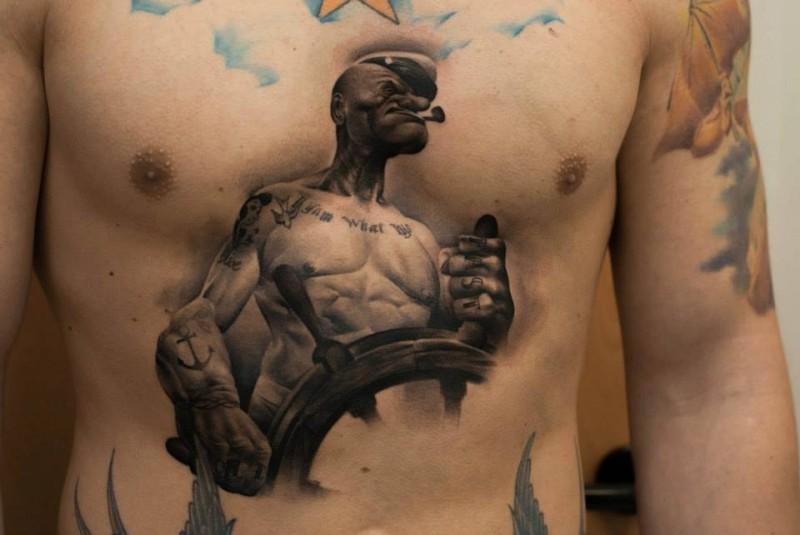 Amazing old cartoon 3D like famous sailor hero tattoo on chest