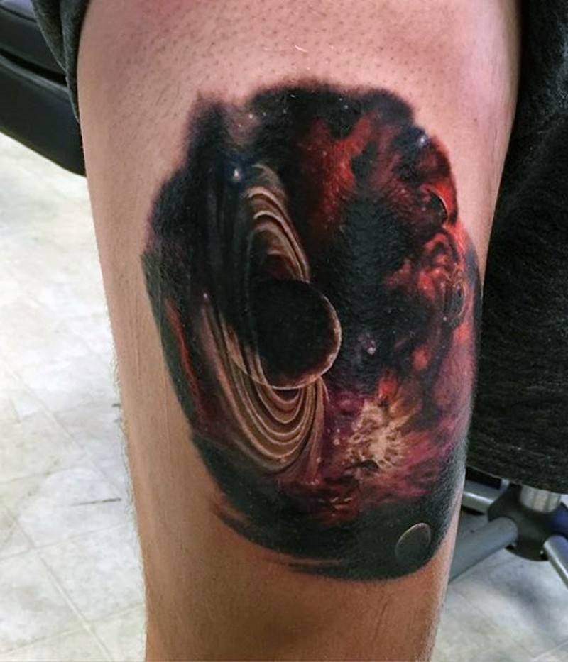 Amazing painted and colored little deep space planet for How deep is a tattoo