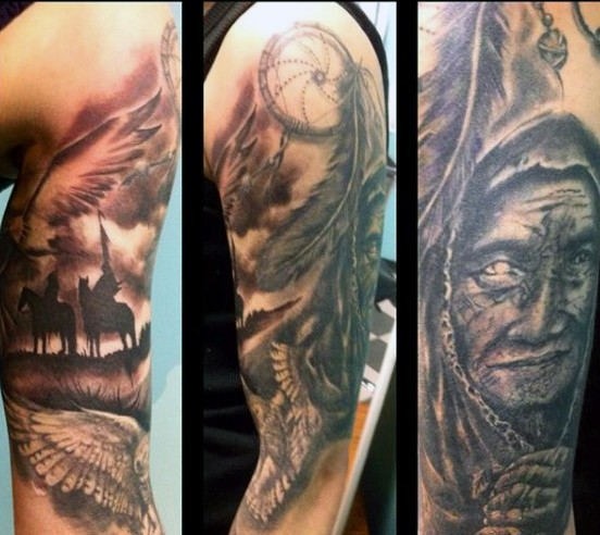 Amazing painted black and white detailed American naive western tattoo on half sleeve with Indian and dream catcher