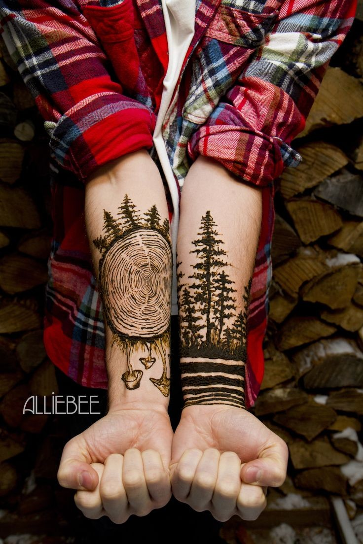 Amazing painted detailed forest dedicated black ink tattoo on arms