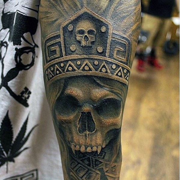 Amazing painted old tribal chief skull tattoo on arm