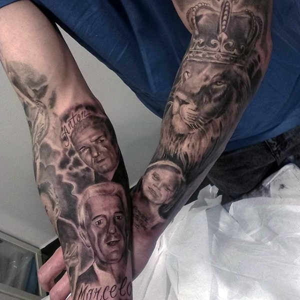 Amazing very detailed black and white family with king lion tattoo on arms