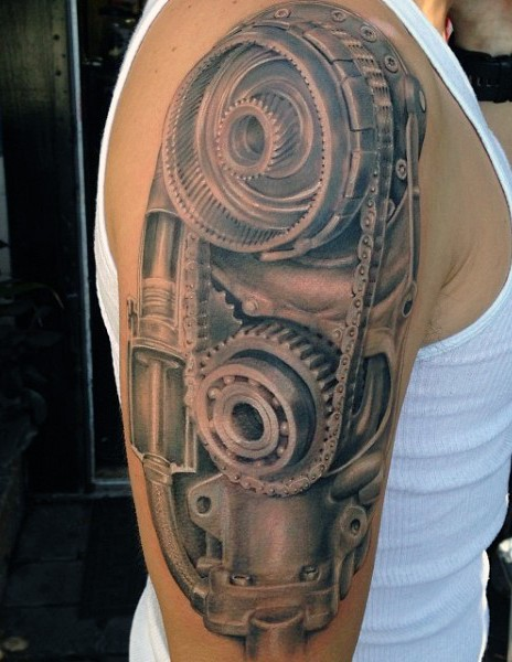 Amazing very detailed black and white old mechanism tattoo on upper arm