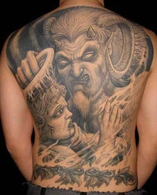 Amazing very detailed black ink devil and angel tattoo on whole back