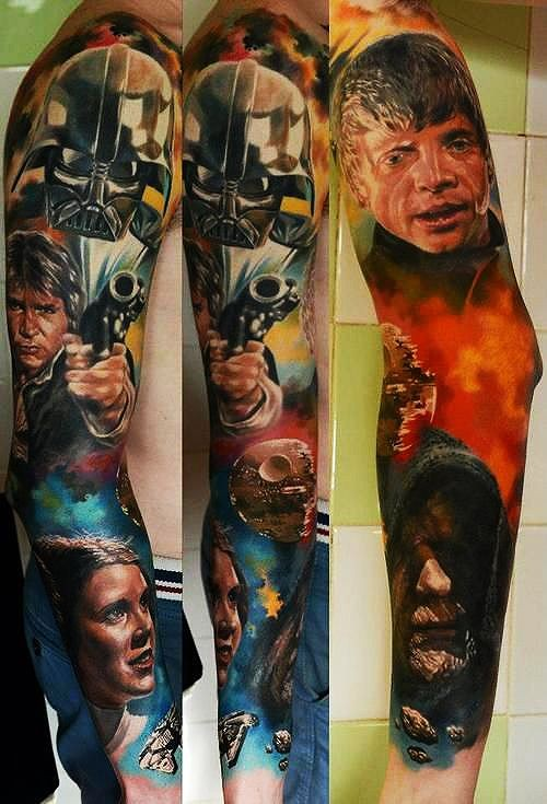 Amazing very detailed colorful various Star Wars heroes portraits tattoo on sleeve