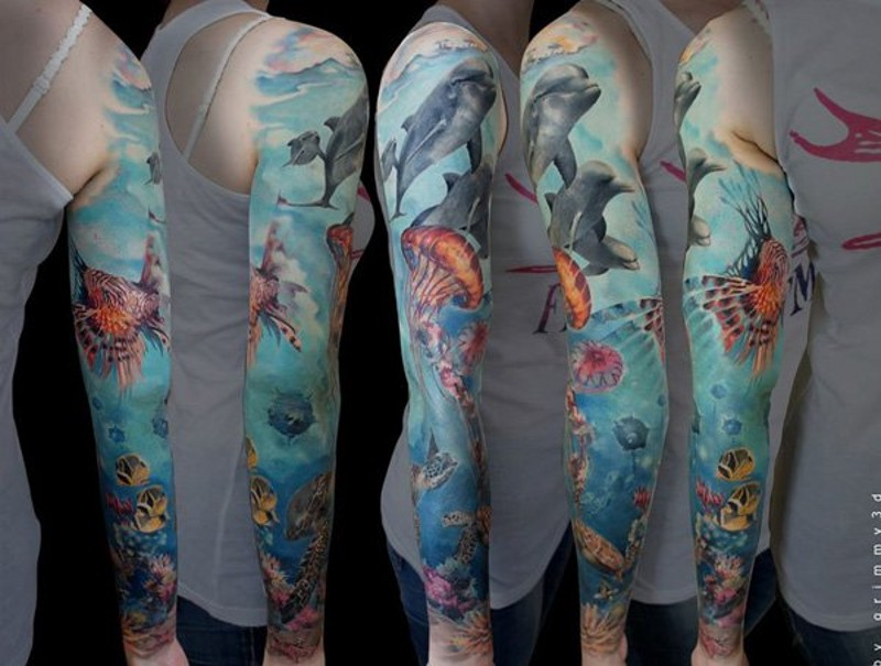 Amazing very realistic colored underwater life tattoo on sleeve