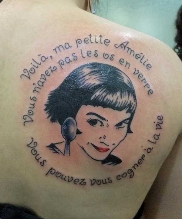 Amelie movie hero cool painted portrait with lettering on shoulder