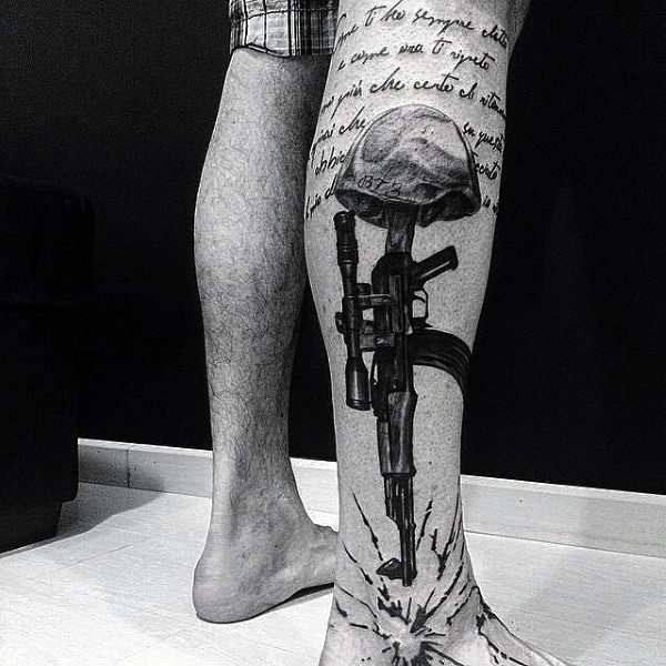 American army memorial style black ink leg tattoo stylized with lettering