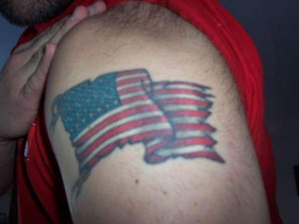 American flag tattoo on shoulder for men