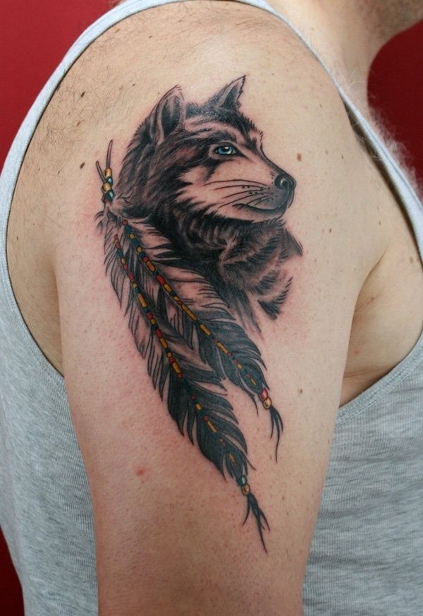 american indian native wolf and bunch of feather slightly colored shoulder tattoo. Black Bedroom Furniture Sets. Home Design Ideas