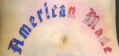 American made lower belly tattoo