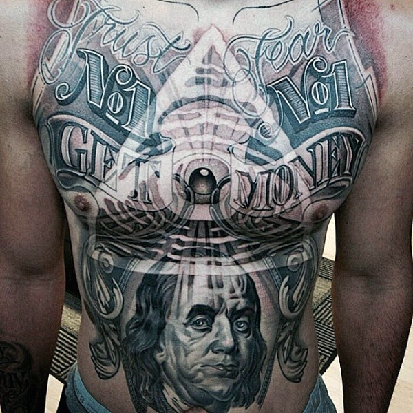 American money themed large colored whole chest and belly tattoo with portrait