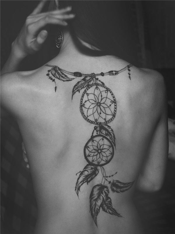 American native big black and white dream catcher tattoo on whole back