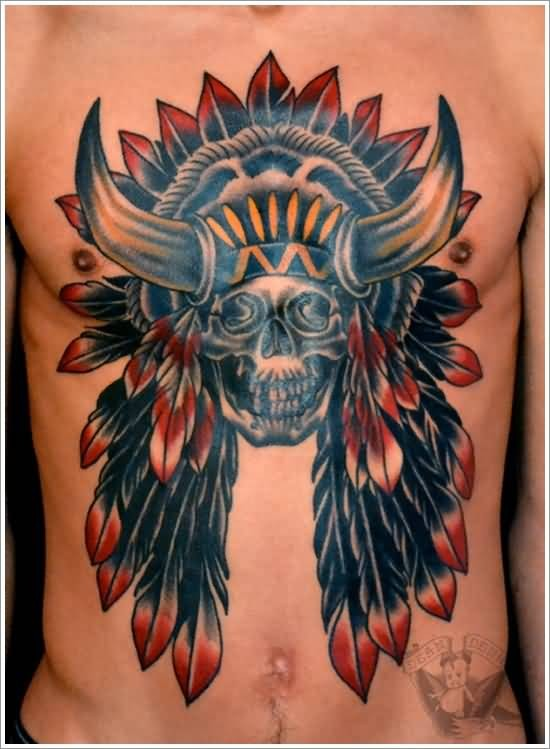 American native big colored Indian skull tattoo on chest stylized with bulls horns and feather