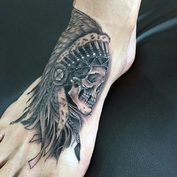 American native black ink old Indian skull tattoo on foot