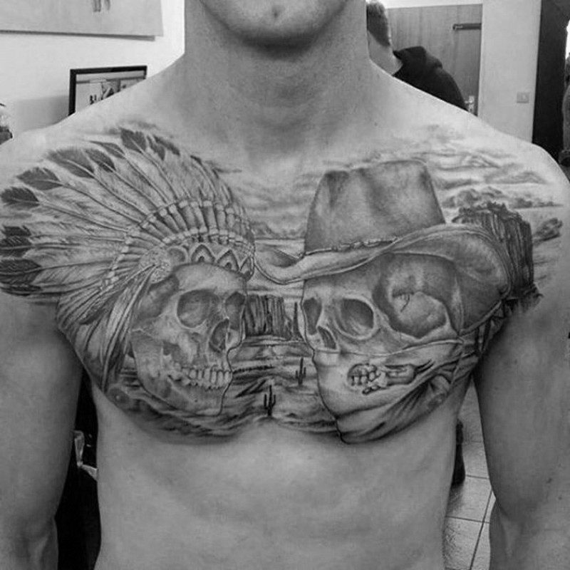 American native detailed black and white western cowboy and Indian chief skulls tattoo on chest