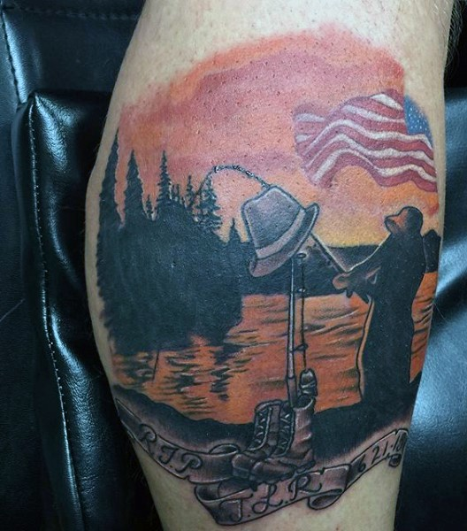 american native fishing memorial colored tattoo with lettering on leg. Black Bedroom Furniture Sets. Home Design Ideas