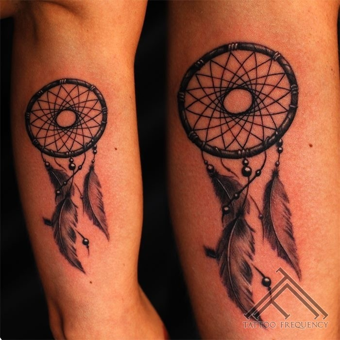 American native little black ink dream catcher tattoo on arm