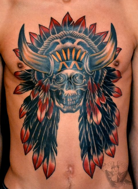 American native multicolored Indian chief skull tattoo on chest