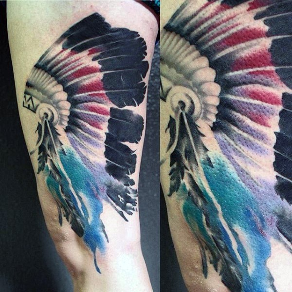 American native multicolored Indian helmet tattoo on thigh