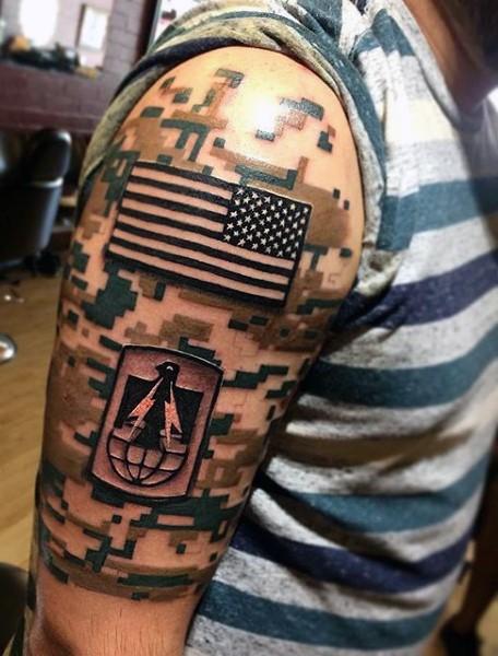 American native soldiers uniform like airborne tattoo on half sleeve area