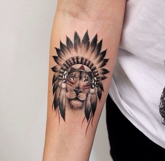 American native style colored little forearm tattoo of lion in Indian helmet