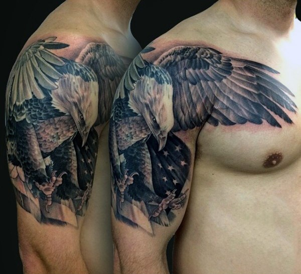 American native very detailed big eagle tattoo on shoulder with national flag