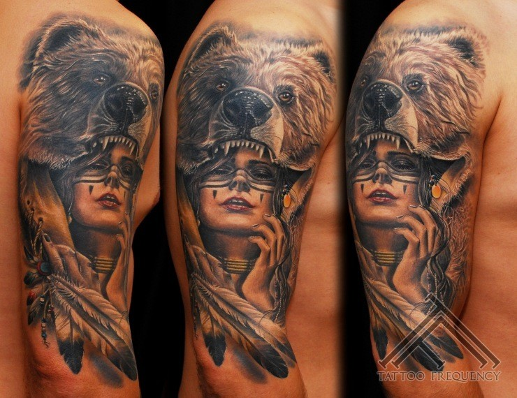 fc6995c6e American native very detailed black and white Indian woman with bear shaped  helmet tattoo on shoulder