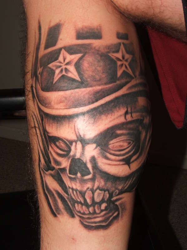 incredibile a tema colorato zio Sem scheletro  tatuaggio su gamba