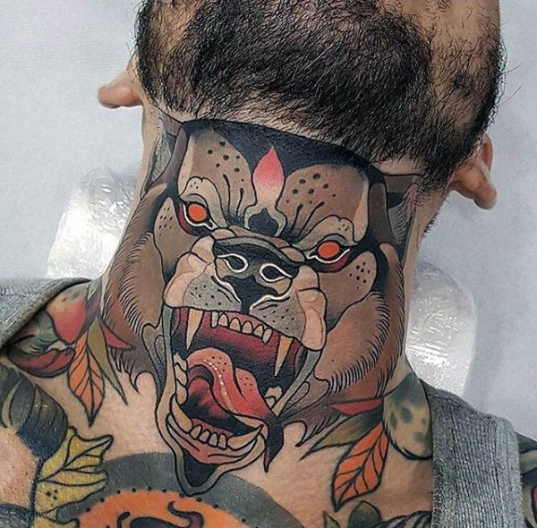 American traditional colored neck tattoo of evil dog face ...