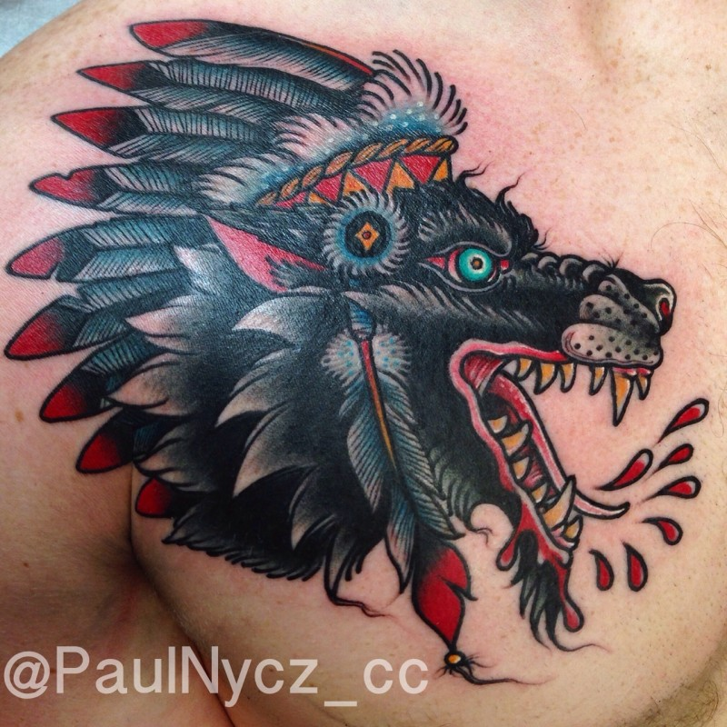 American traditional old school style colored mad bloody Indian chef wolf tattoo on chest and shoulder