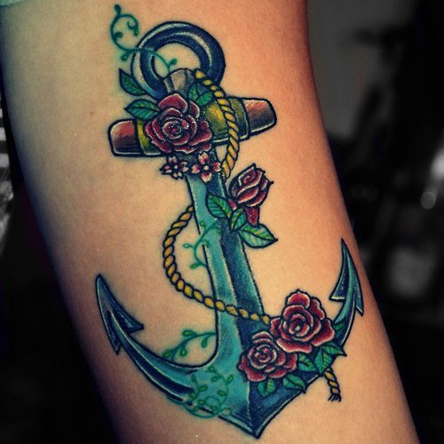 Anchor with roses tattoo