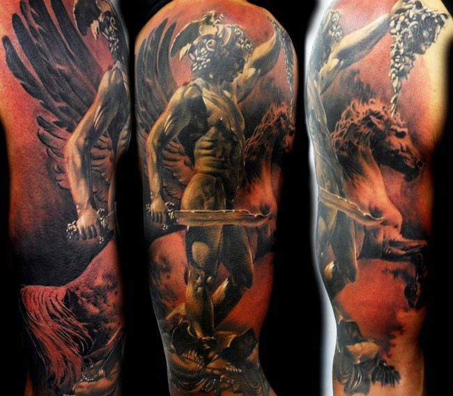 Ancient beautiful looking sleeve tattoo of ancient statue with Medusa head and horse