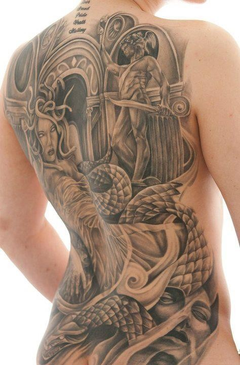 Ancient Greece mythology themed massive tattoo on whole back with lettering