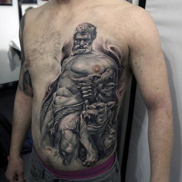 Ancient like colored chest and belly tattoo of statue with Cerberus