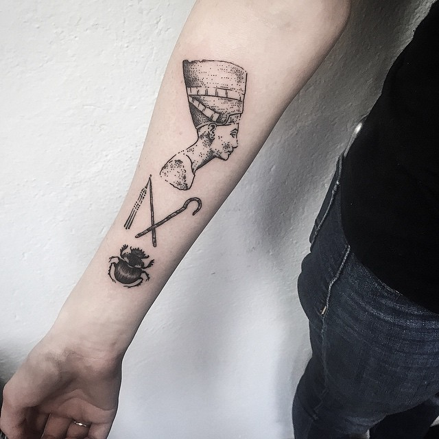 Ancient Style Black Ink Forearm Tattoo Of Various Egypt Symbols
