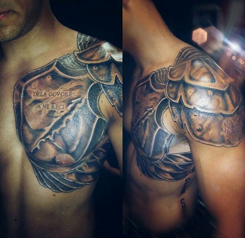Ancient warrior armor detailed tattoo on shoulder and for Shoulder and chest tattoos