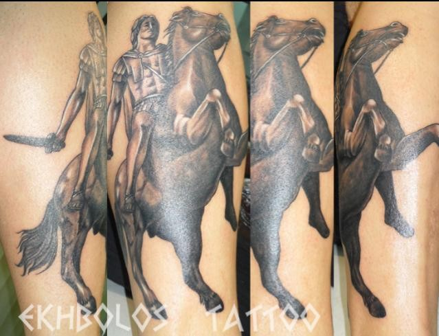Ancient warrior with sword on horse forearm length tattoo