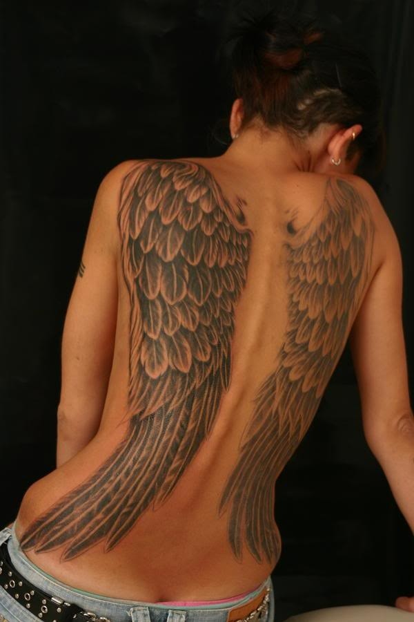 Angel  wings tattoo on whole back