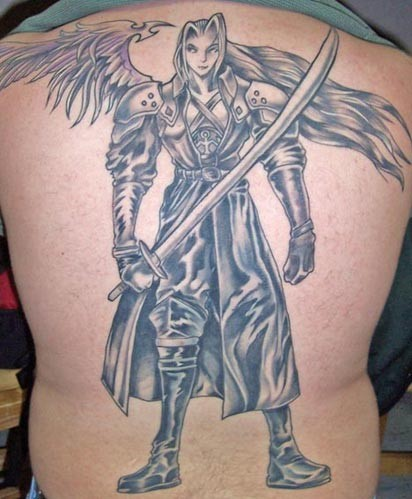 Angel warrior with sword in hand tattoo