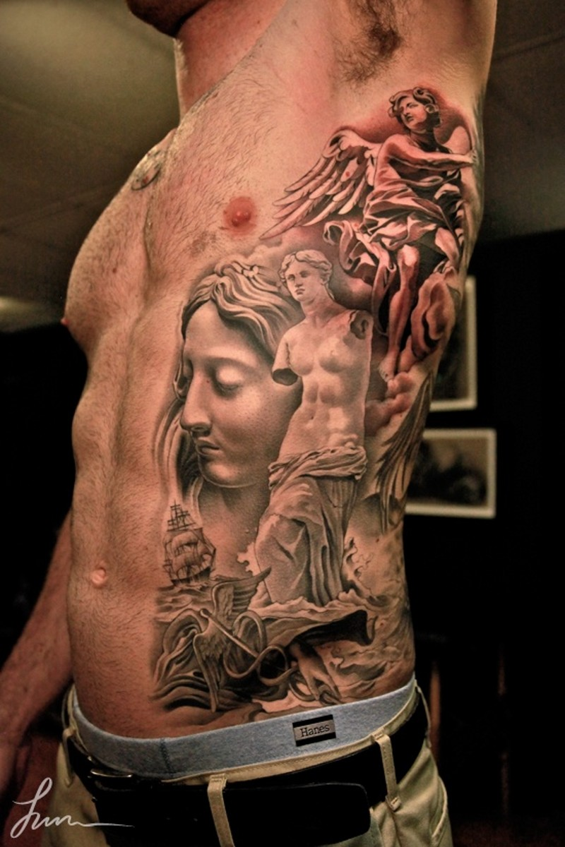 Angels in renaissance style tattoo on ribs