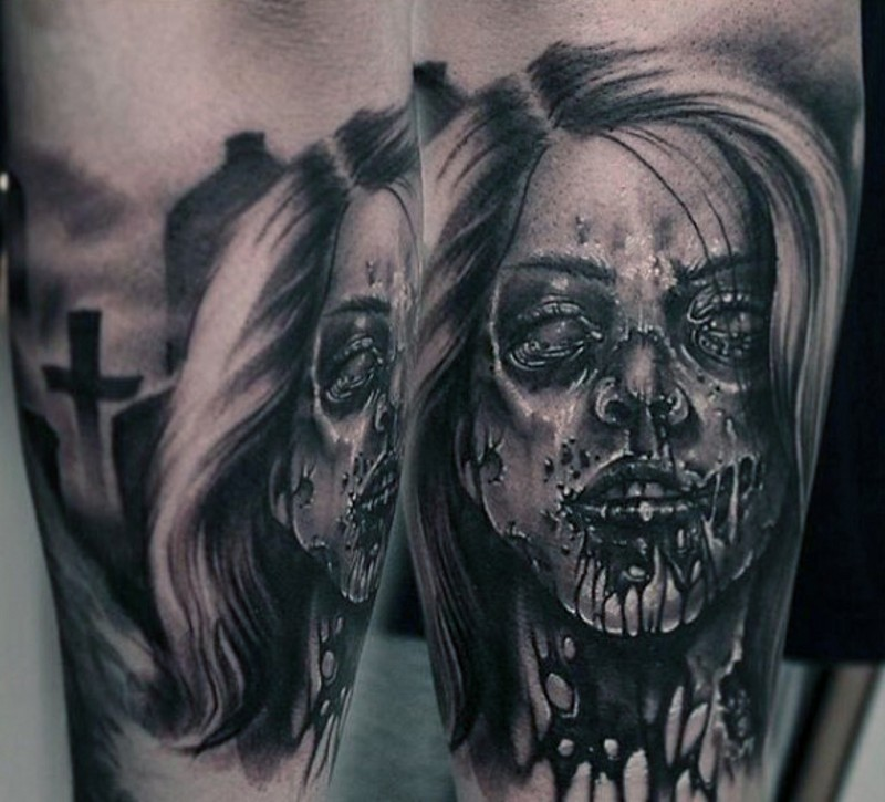 Antic Horror Movie Themed Terrifying Forearm Tattoo Of