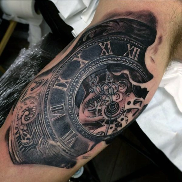 antic like big detailed mechanical clock tattoo on arm. Black Bedroom Furniture Sets. Home Design Ideas